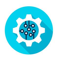 Gear wheel microchip circle icon vector