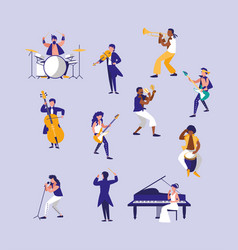 group people playing instruments musical vector image