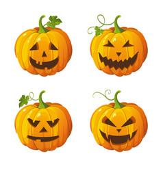 halloween set isolated pumpkins vector image