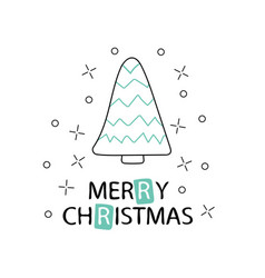 Hand drawn christmas tree with a phrase merry vector