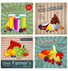 Hand drawn set of vintage fruit banners vector