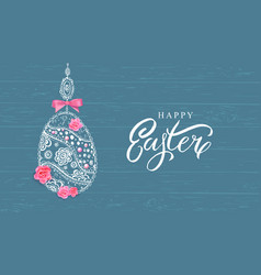 happy easter banner with hand drawn flowers egg vector image