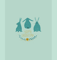 Happy easter greeting card with rabbits vector
