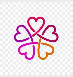 Heart logo flower icon vector