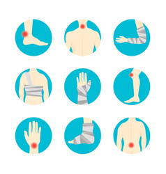 Human injuries set bandage and center pain vector