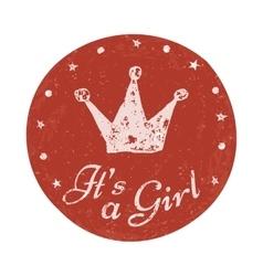 Its a girl label baannouncement card vector