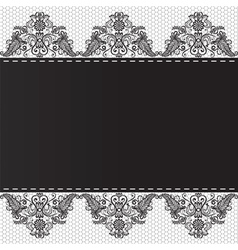 Lace floral border on white background vector