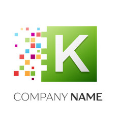 Letter k logo symbol in the colorful square vector