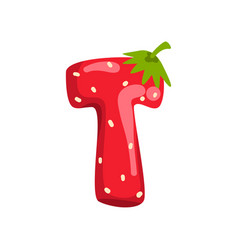 Letter t of english alphabet made from ripe fresh vector