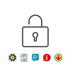 lock line icon private locker sign vector image