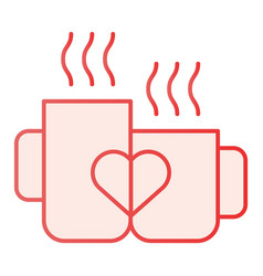 Love mugs flat icon cups with heart pink icons in vector