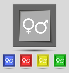 male and female icon sign on original five colored vector image