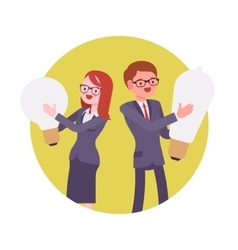 Man and woman hold light bulb vector