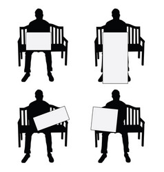 man silhouette siting on chair with card set on vector image