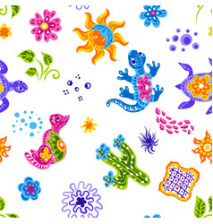 mexican pattern with cute naive art items vector image