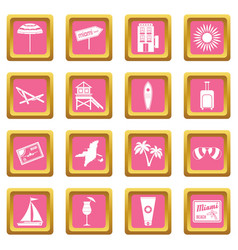Miami icons pink vector