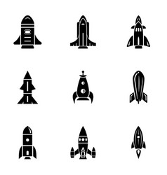 Missile icons set simple style vector