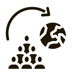 moving people around planet icon glyph vector image