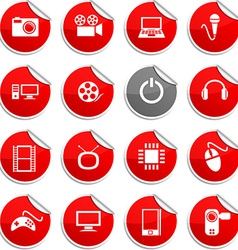 Multimedia stickers vector image