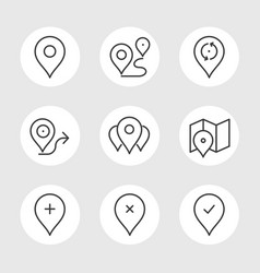 navigation pin line icons vector image