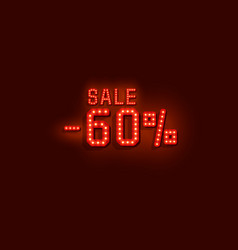 neon 60 sale text banner night sign vector image