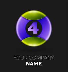 number four logo symbol on colorful circle vector image