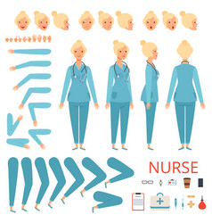 Nurse animation character hospital female doctor vector