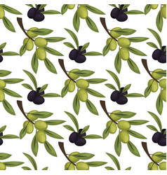 olives seamless pattern with ripe olives vector image