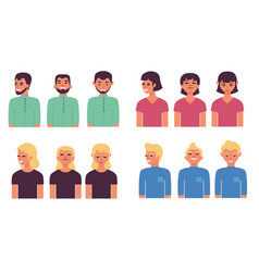 people avatars set with half vector image