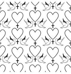 Pigeons and prayer beads biblical symbols easter vector