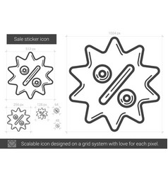 Sale sticker line icon vector