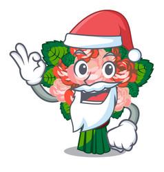 Santa flower bouquet placed on glass cartoon vector
