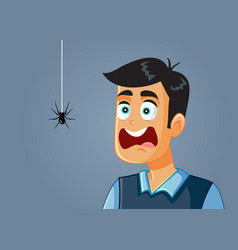 Scared man being afraid a spider cartoon vector