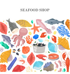 Seafood and fish shop poster with shells starfish vector