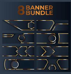 Set gold banner design with minimalist modern vector