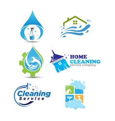 set of cleaning service logotype vector image