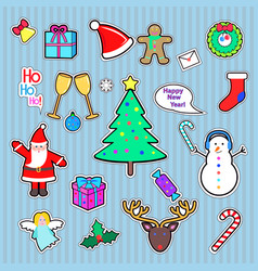 set of happy new year and merry christmas patch vector image