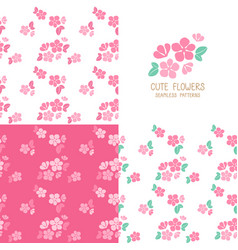 set of seamless pink flowers patterns vector image