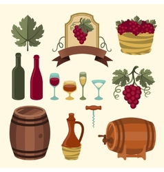 set wine icons elements and objects vector image