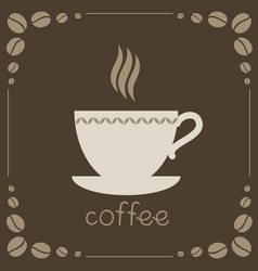 sign of coffee on brown background vector image