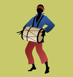 Silhouette of man playing drum vector