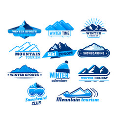 snow mountain sign winter landscape logo vector image