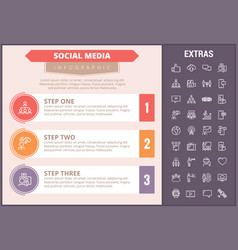 social media infographic template elements icons vector image