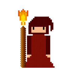 Sorcerer monk video game pixelated character vector