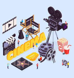 Star cinema isometric composition vector