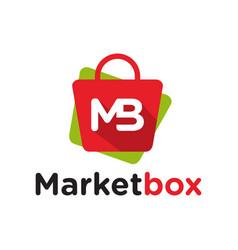 store logo bag letter mb vector image