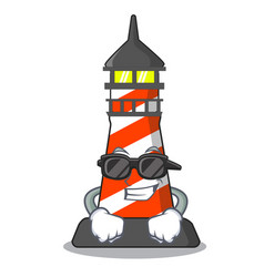 super cool cartoon realistic red lighthouse vector image