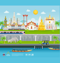 thailand famous landmarks travel banner beautiful vector image