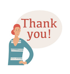 thank you banner with young woman with hair bun vector image