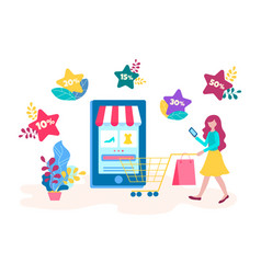 the concept of discounts in the online store hot vector image